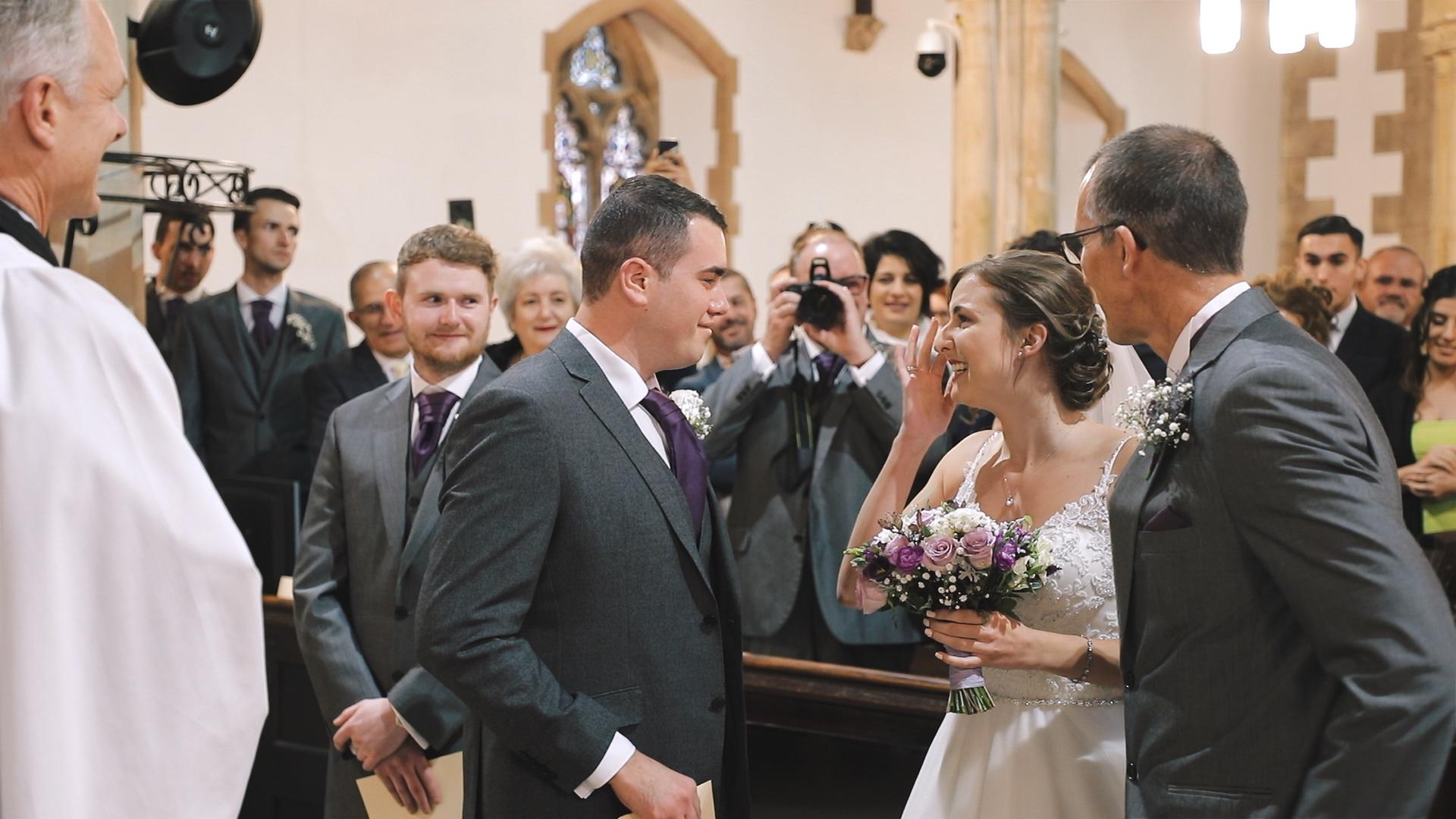wedding ceremony at Plymouth Emmanuel church