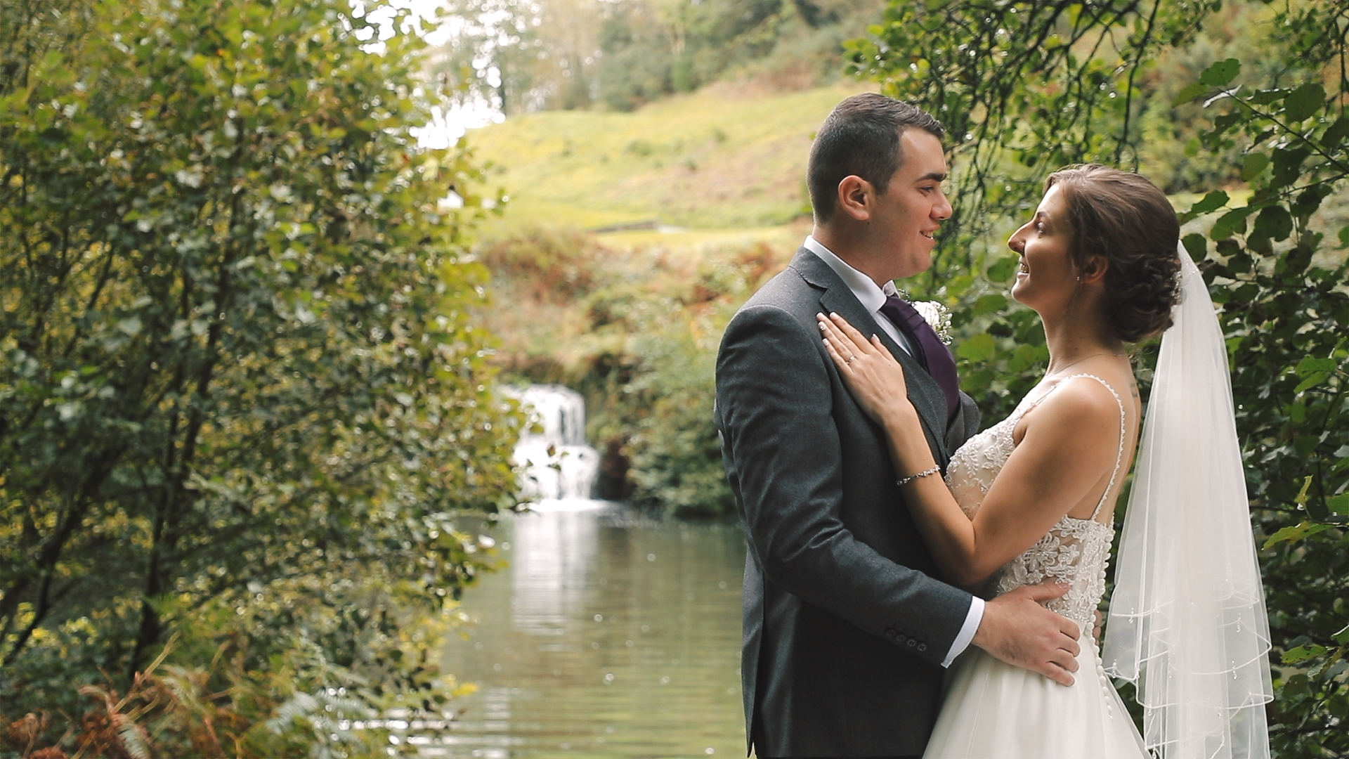 Bride and Groom hug at St Mellion resort